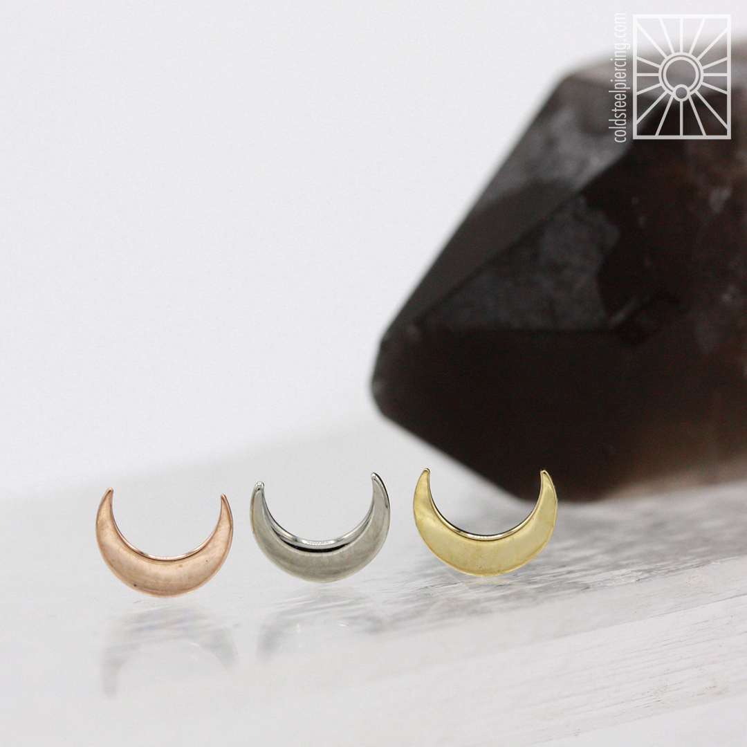 Solid gold moon ends from Anatometal - so cute and in stock now! 🌘🌑🌒