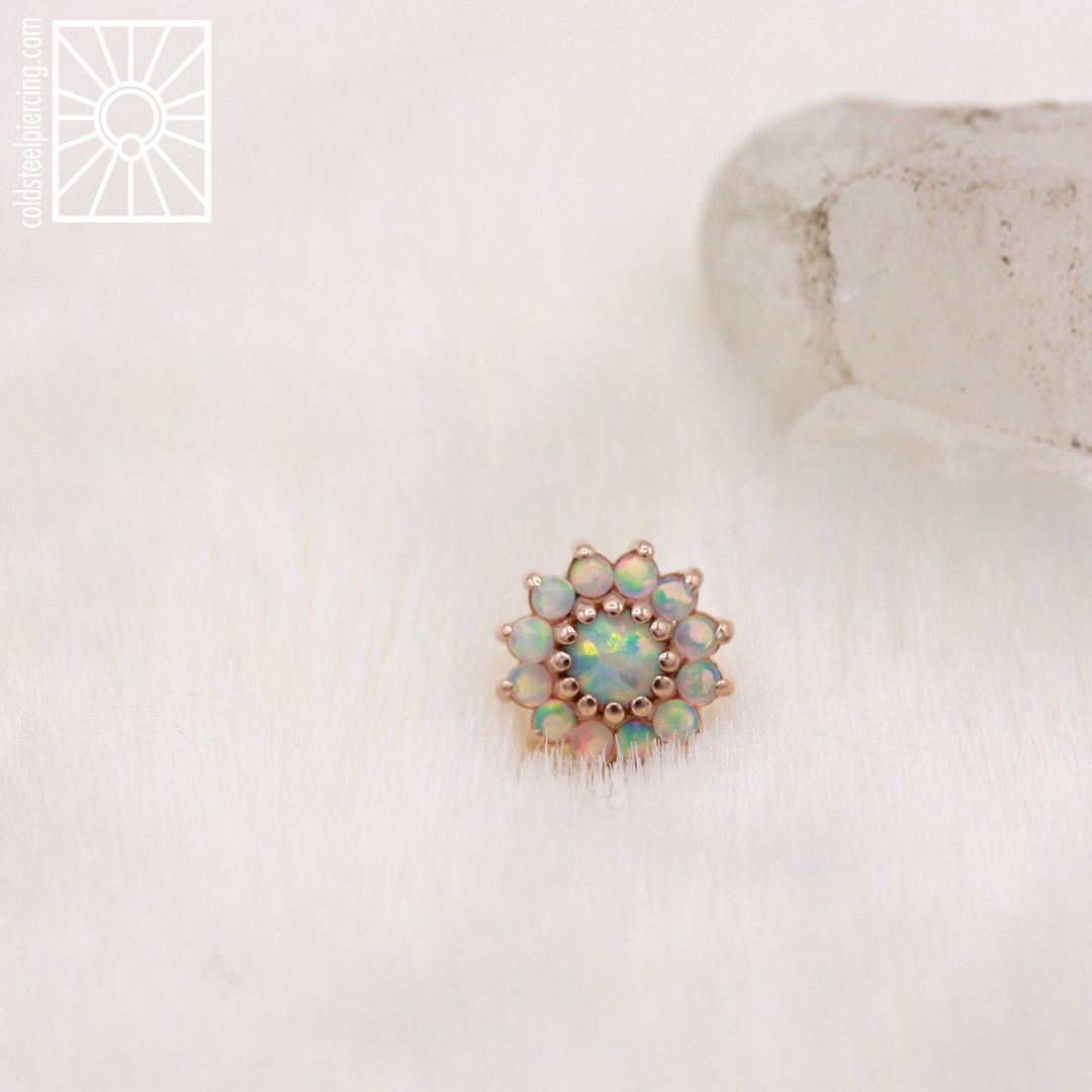 Gorgeous 14k rose gold and synthetic white opal end from Body Gems.
