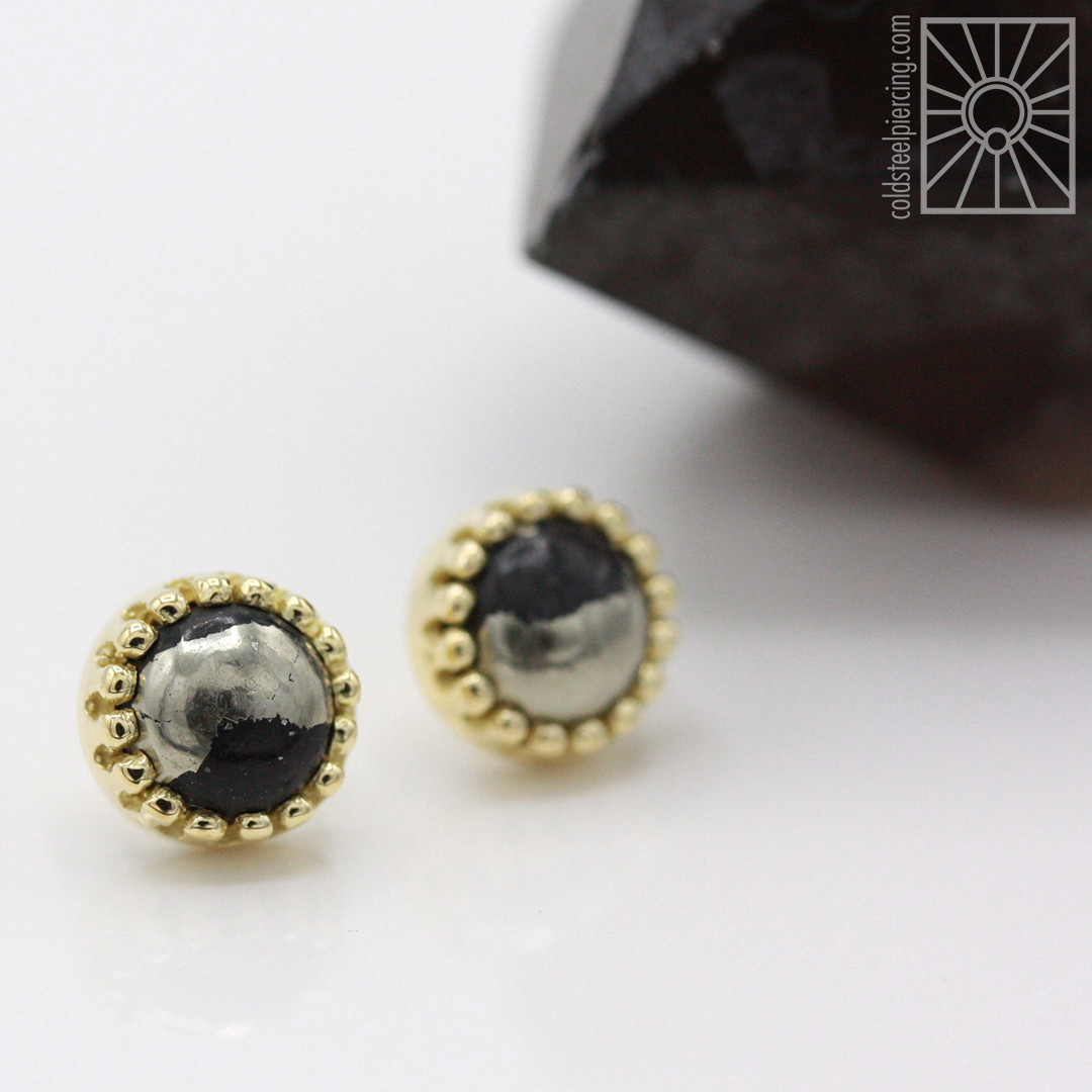 Pretty in Pyrite! We're so excited about this custom set of 6mm yellow gold crown ends from Body Vision Los Angeles - a great example of how understated can still be a showstopper!