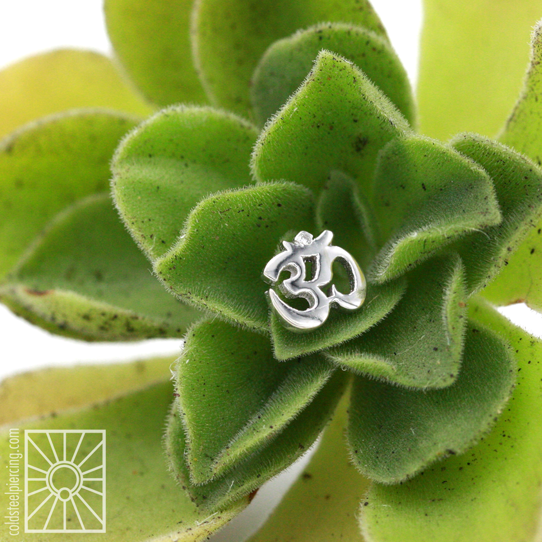 14k white gold Ohm threaded end from Body Vision Los Angeles customized with an itty bitty diamond at the top for just a little bit of subtle sparkle - so cute!