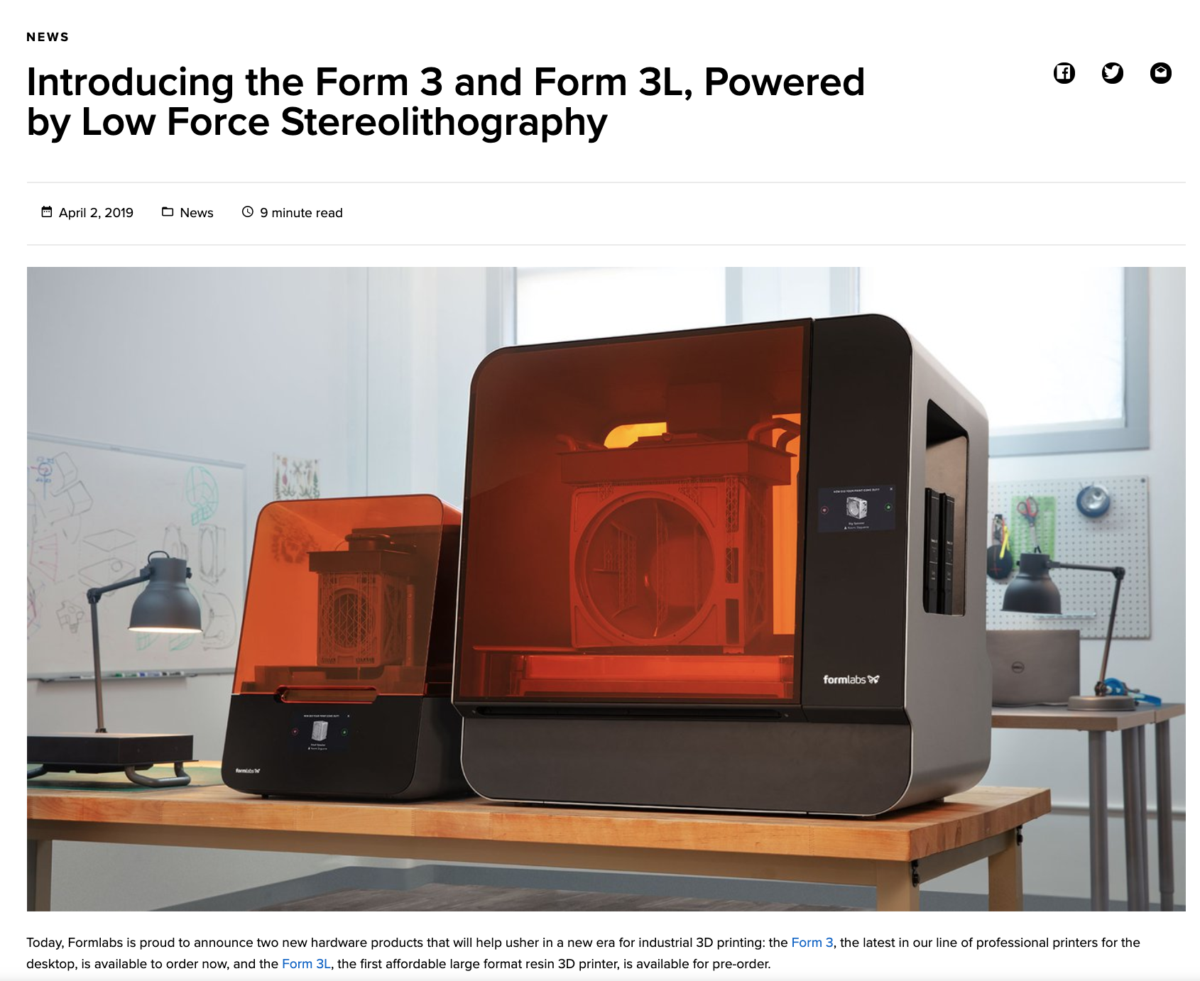 Blog: Introducing the Form 3 and Form 3L, Powered by Low Force Stereolithography