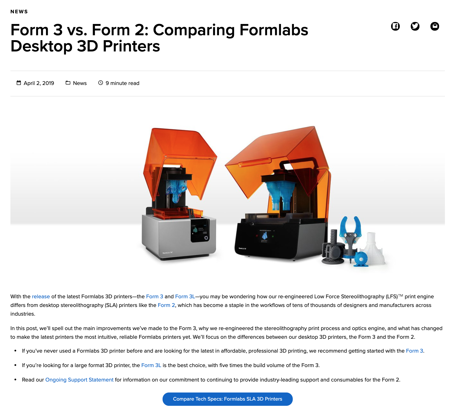 Blog: Form 3 vs. Form 2: Comparing Formlabs Desktop 3D Printers
