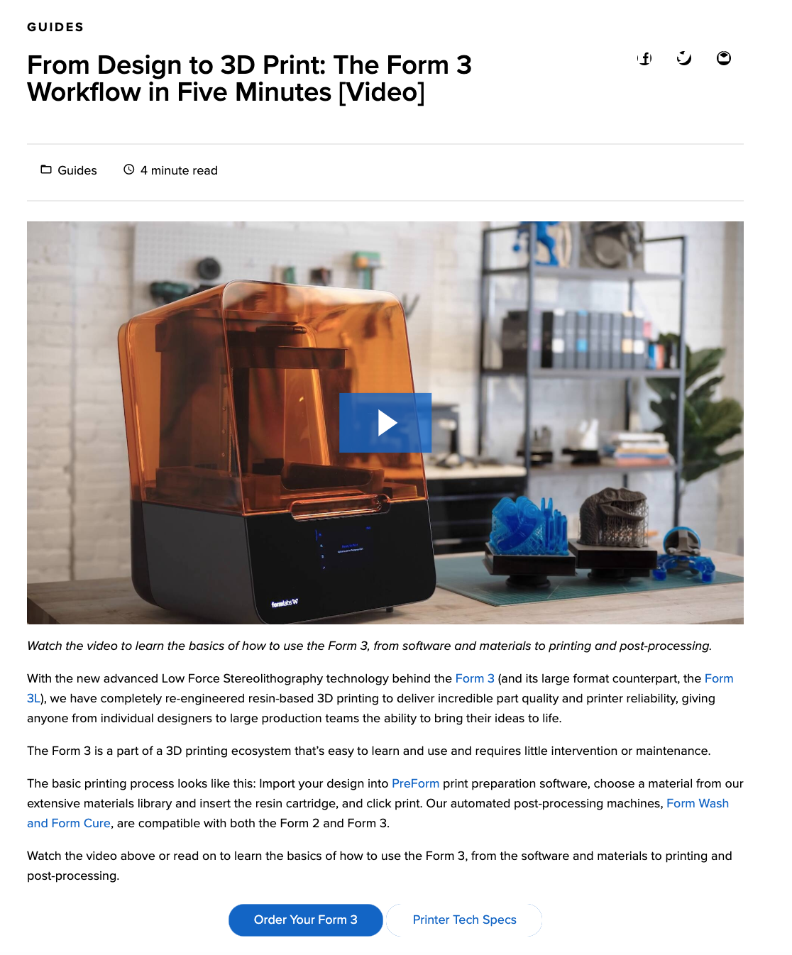 Blog: From Design to 3D Print: The Form 3 Workflow in Five Minutes [Video]