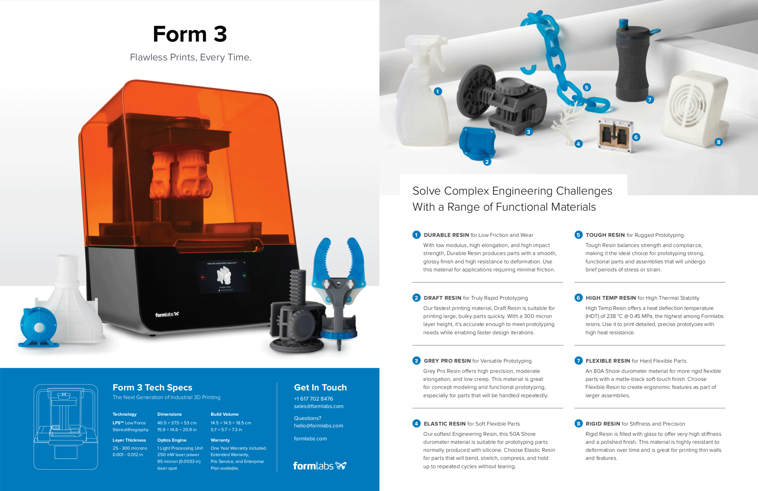 Print:  Form 3 sell sheet for engineering and product design  (copywriting)