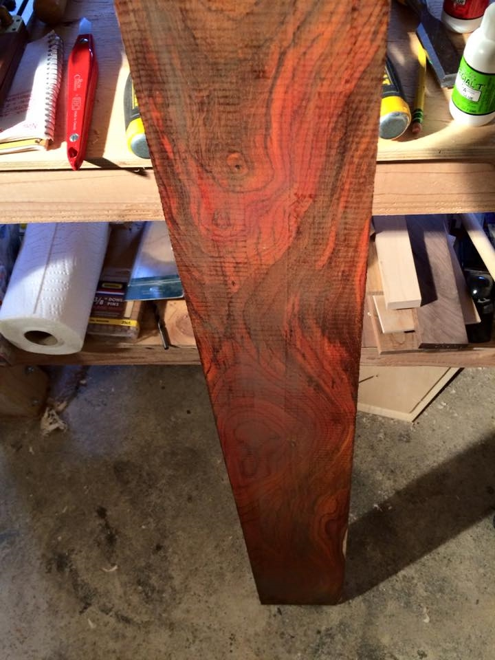 Raw cocobolo lumber