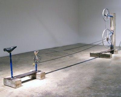 """Bike  bike parts, wood, steel, hardware 34 x 66 x 185"""" 2005"""