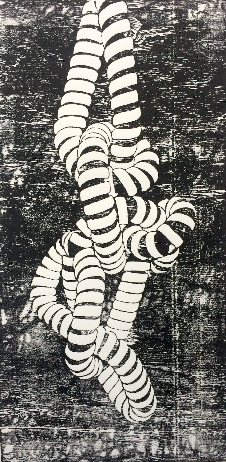 "PHONE CORD wood block print ink on paper 30 x 15"" 2015"