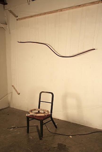 Sine Wave  reclaimed chair, hose, string, motor, upholstery, polyester batting, wood, vinyl tubing, pencil, steel, hardware  dimensions variable 2010