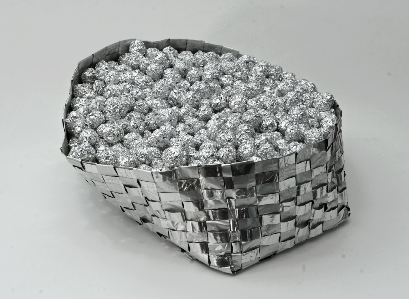 """Ark of Many Moons  aluminum foil and clear packing tape 5 x 12 x 12"""" photo credit: Dalibor Zorić 2008"""