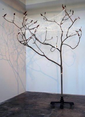"""Tree Web  tree, metal stand, string 96 x 118 x 120"""" 2007"""