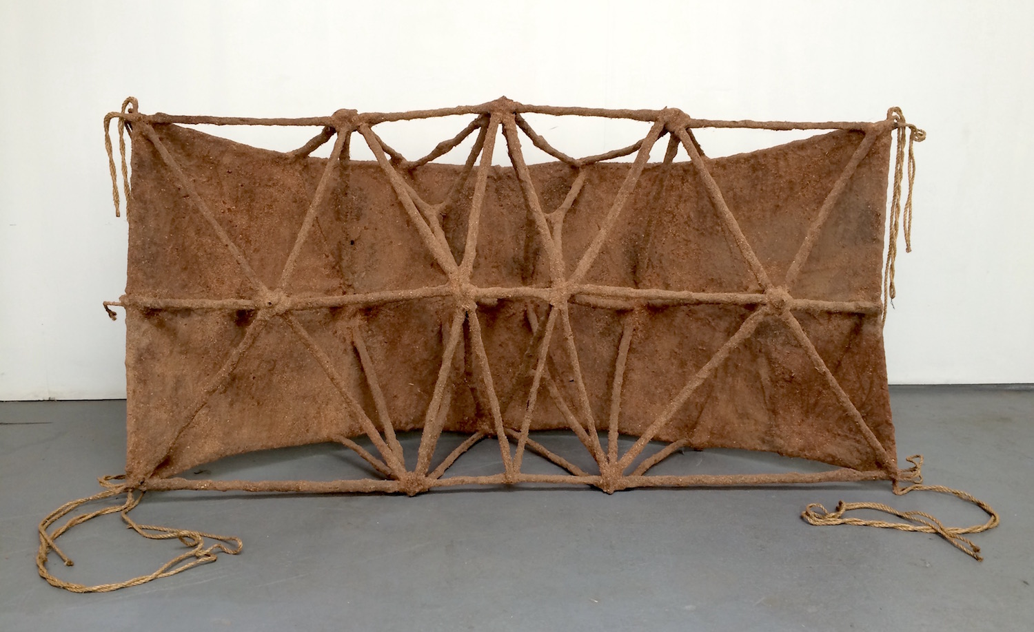 """HULL rope, canvas, jute, polyester resin, sawdust 28 x 45 x 102"""" 2016"""