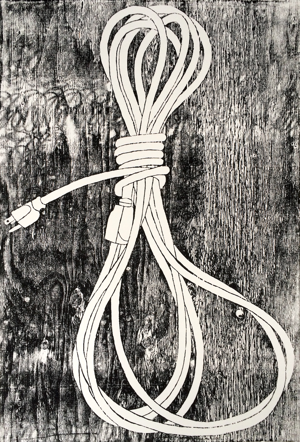 "EXTENSION CORD wood block print ink on paper 26"" x 40"" 2016"