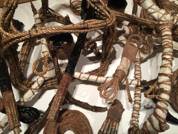SHIPWRECK  (detail) manila rope, sawdust, india ink, wire, canvas, burlap, jute, polyester resin group of small works, dimensions variable installation at Ramon's Tailor 2016
