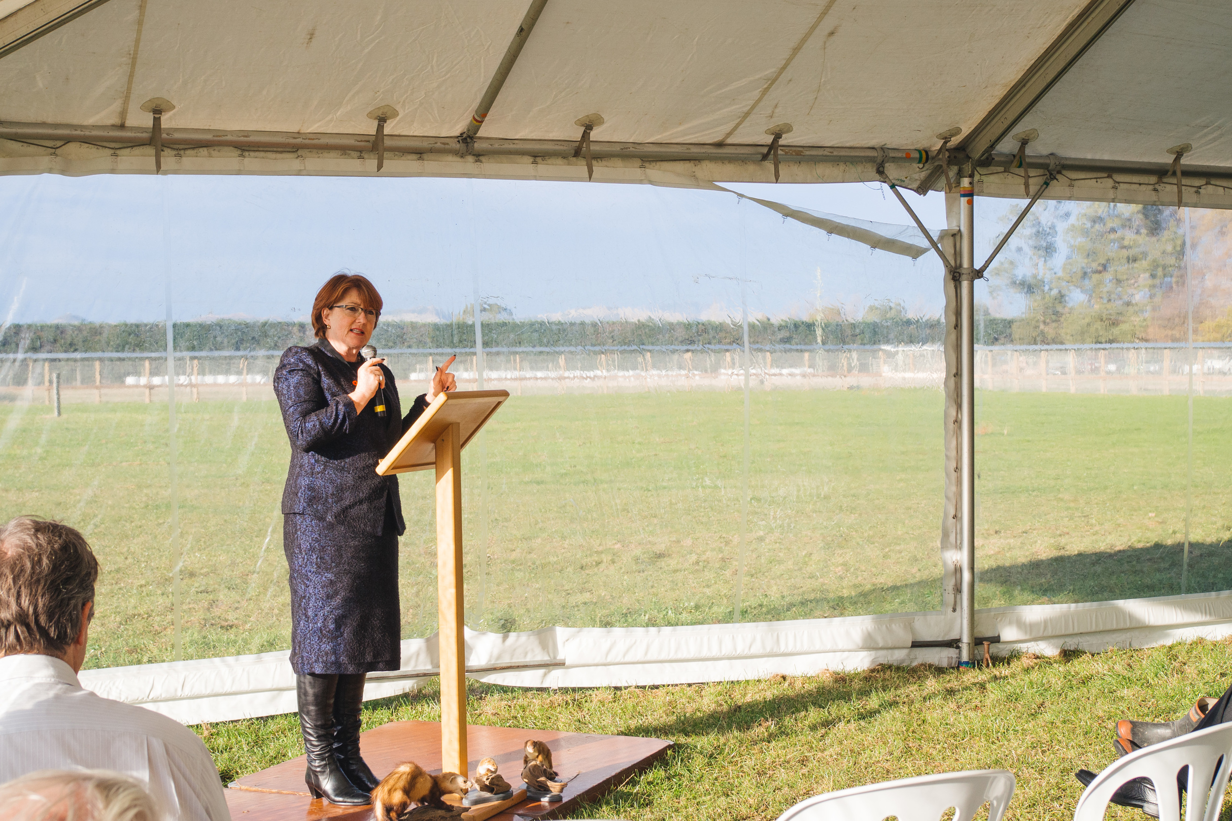 Minister of Conservation Hon Maggie Barry addresses the group.