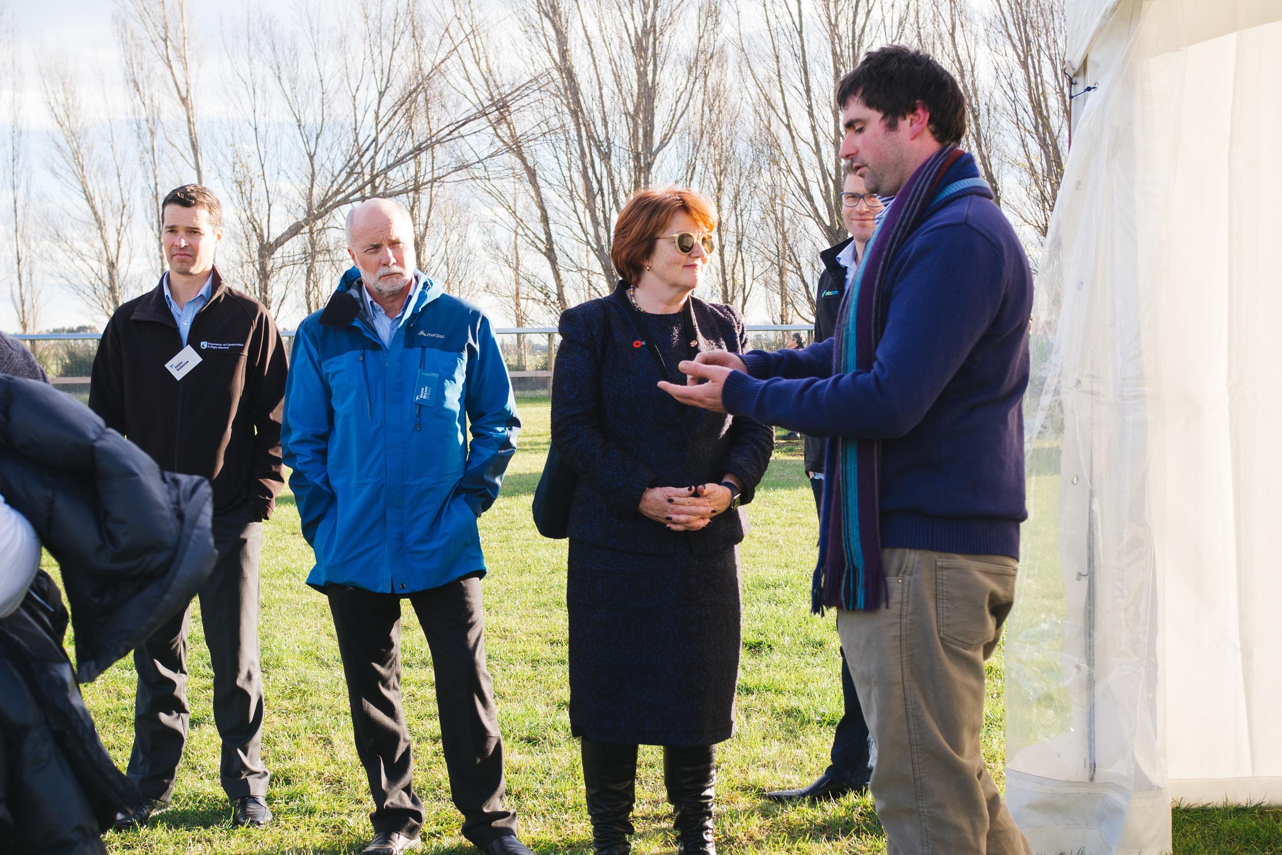 L-R: James Holborow (DOC), Devon McLean, Hon Maggie Barry, Stuart Pearson (Eleccom Design Limited), Tim Sjoberg (ZIP Animal Behaviour Technician)