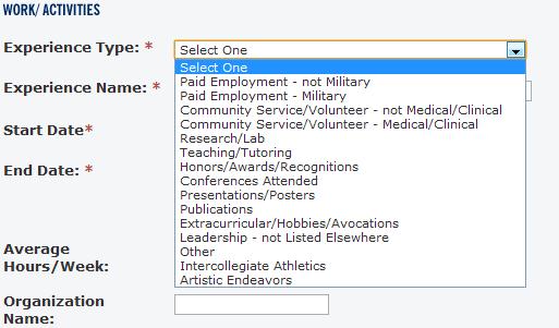 Categories for AMCAS Work/Activities