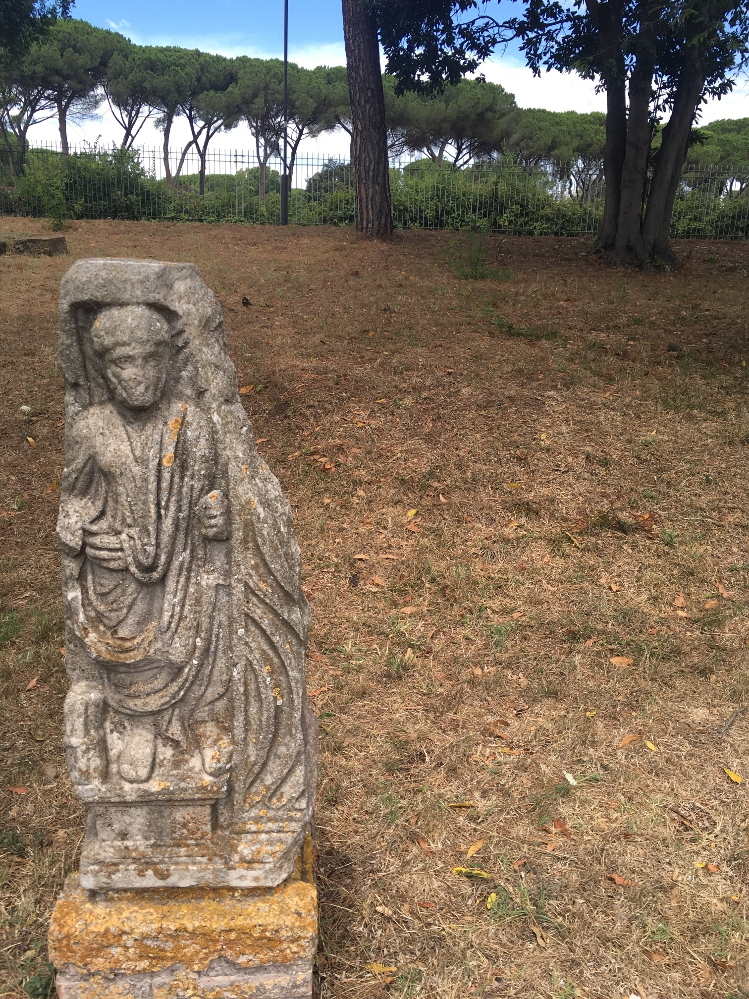 """A statue in the Necropolis, which is the Latin word for """"City Of The Dead"""". The Romans buried their dead outside the city walls, so the necropolis is the first area we walked through."""