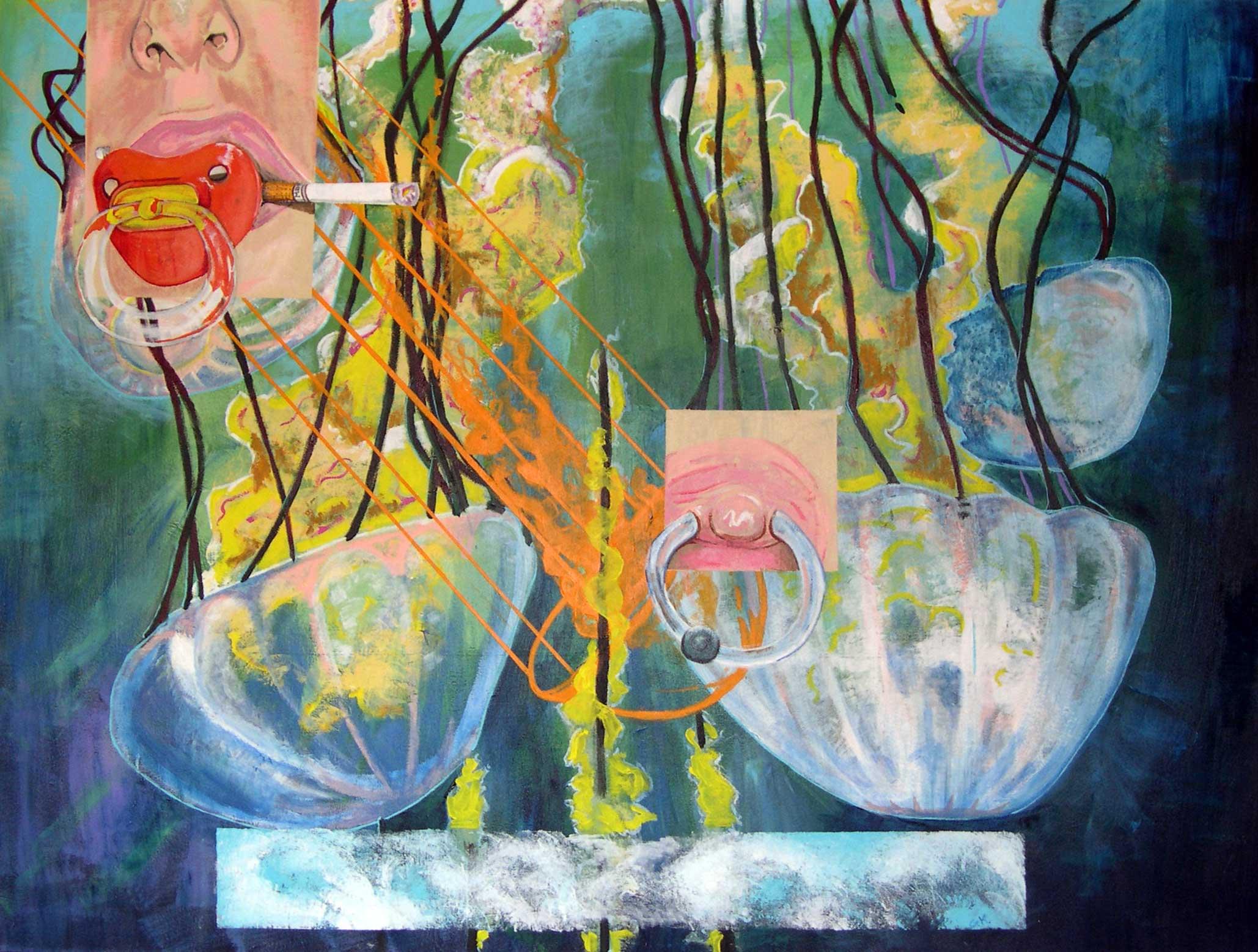 Jellyfish BD, 72''x54'', Acrylic, 2004