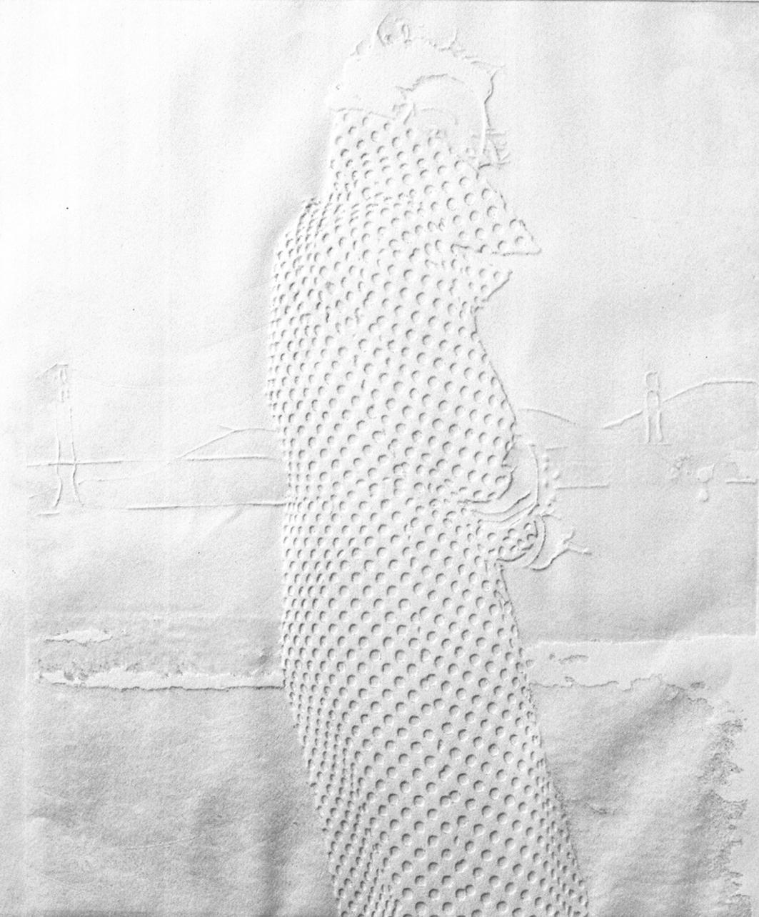 """Nancy, 22""""x29"""", Blind embossment on paper,2005"""