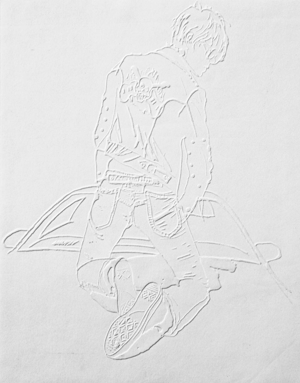 "Boy #1,11""x13"",Blind embossment on paper, 2005"