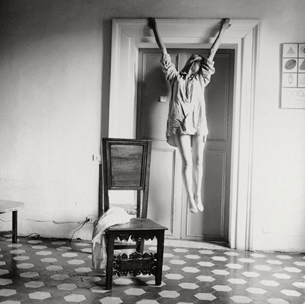 A self portrait by Francesca Woodman, taken in the 70s. Woodman died age 22, and her work only became more widely known posthumously. Highly recommended reading the details of the rest of her biography in the captions of some of her other pictures, share on the GirlGaze Instagram.