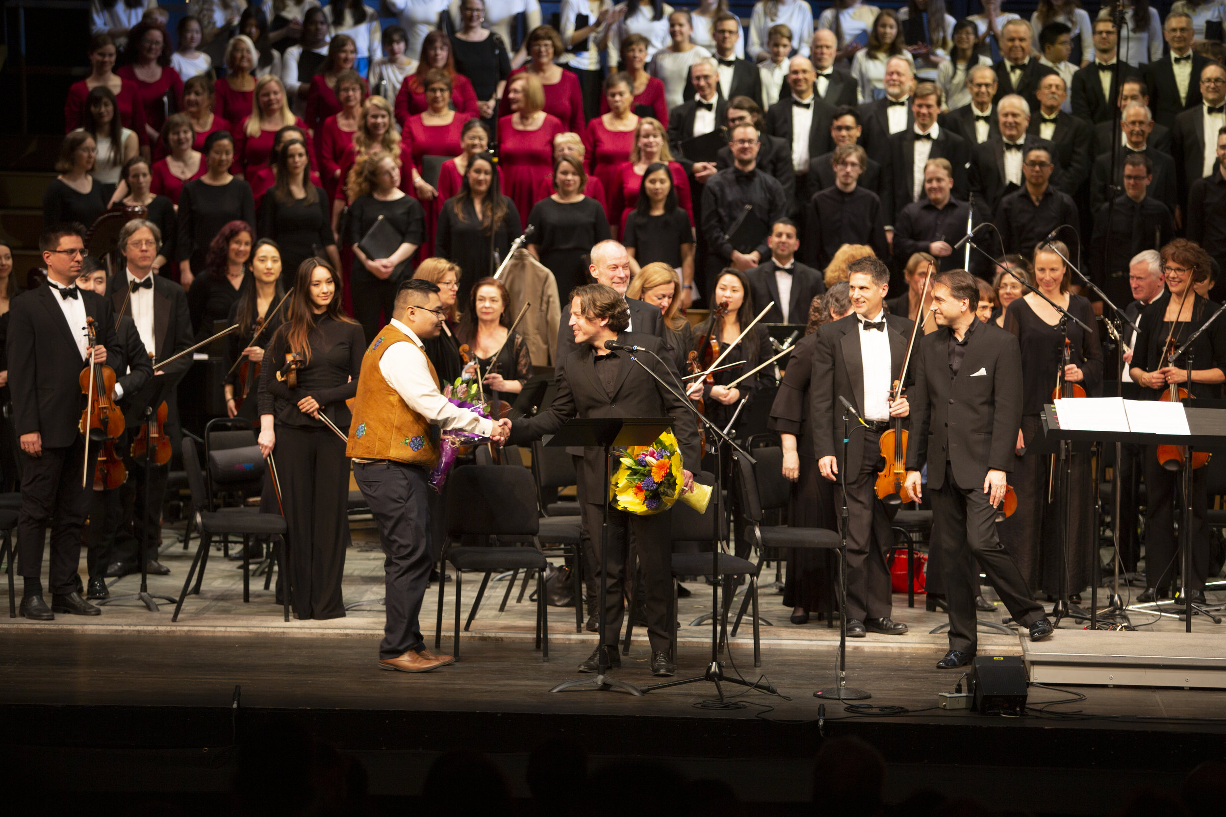 May 3 2019 - Thanking Narrator Mason Mantla (Tlicho) following the world premiere of the full evening oratorio  The River Of Light  by Vancouver Opera and Vancouver Bach Choir.