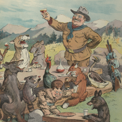 J.S. Pughe, Artist. A Thanksgiving truce / N.Y. : Published by Keppler & Schwarzmann, Puck Bldg., 1905 November 22. Print. Retrieved from the Library of Congress. <http://www.loc.gov/pictures/item/2011645756/>.