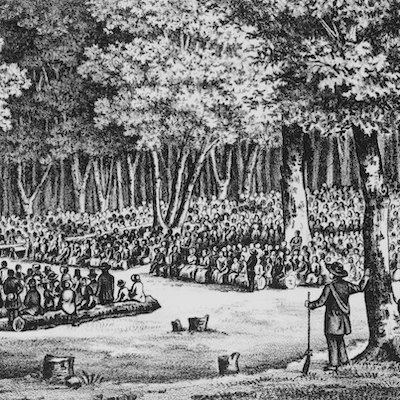 Sacramental Scene in a Western Forest. 1854.. Lithograph. Retrieved from the Library of Congress. <www.loc.gov/item/98508373/>.