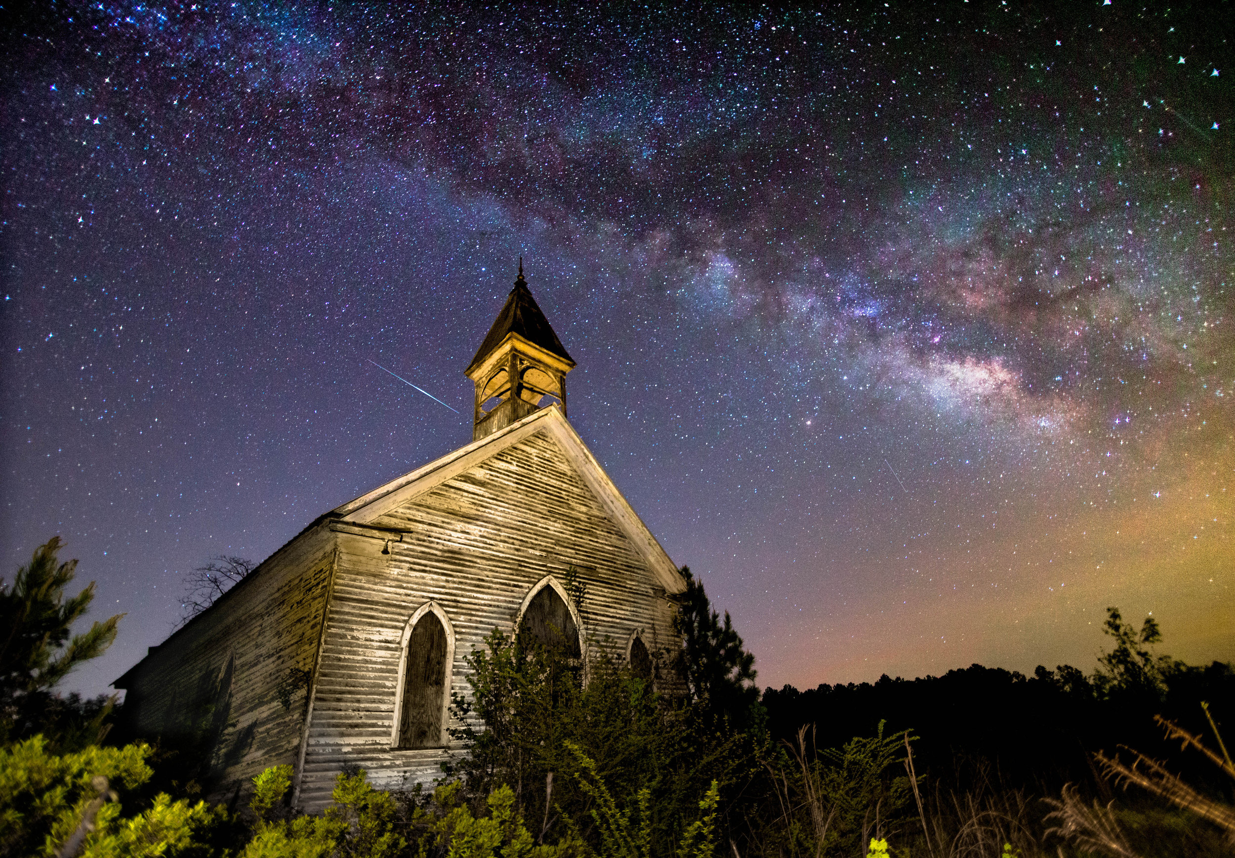 Coatopa Presbyterian Church - Two things I absolutely love to shoot. Old abandoned structures and the Milky Way. The Milky Way can't be seen in the dead of winter, so I had to wait until April before everything was too grown up. Read more about this in my book.