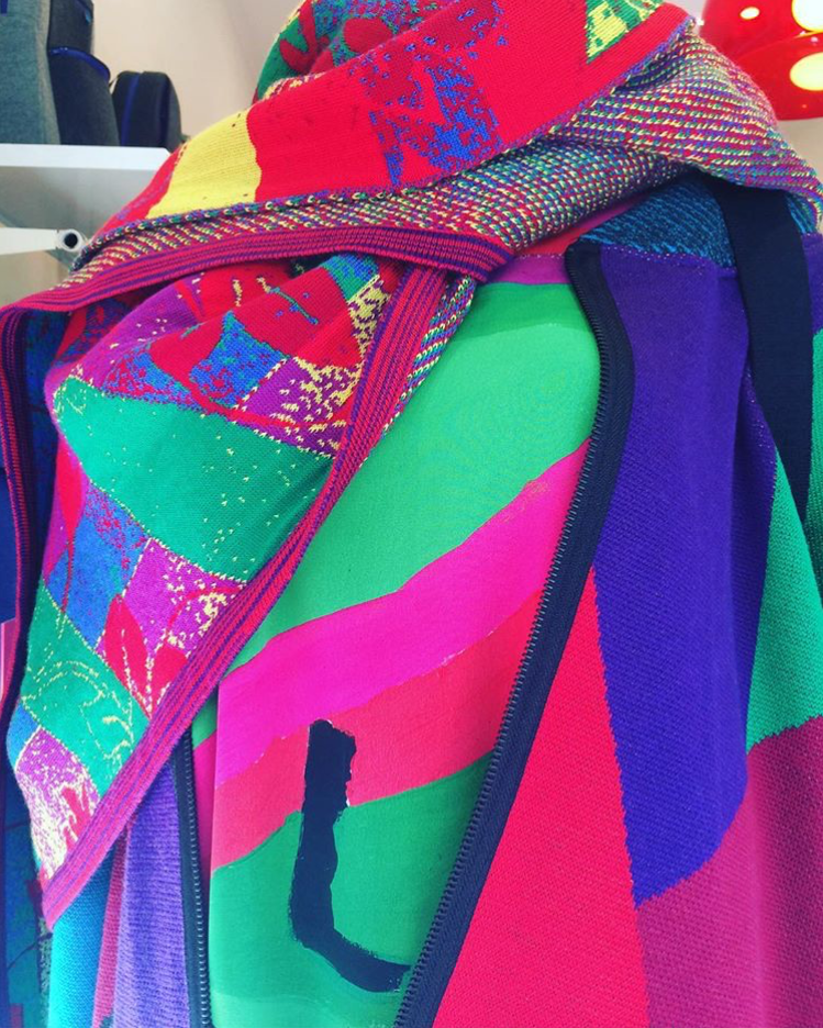 Picasso head dress, bright wool wrap & diamond knit cardigan.