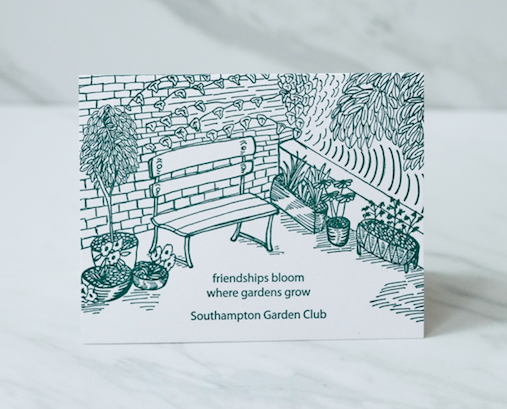 We designed this card for Houston's Southampton Garden Club, to be used as thank you notes for anyone who contributed to the organization.