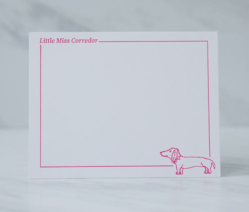 """These cards were used as thank you notes for baby gifts. Our client's first child is a lovable dachshund named Brian, who serves as the """"family mascot""""."""