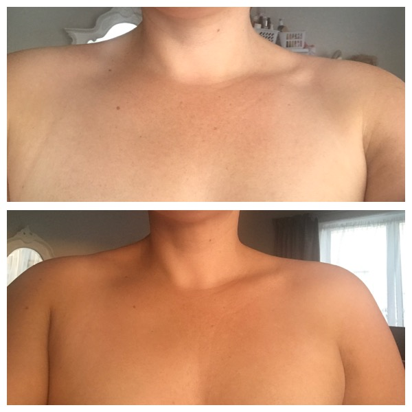 Before and after with our 8 hour Black Magic tan