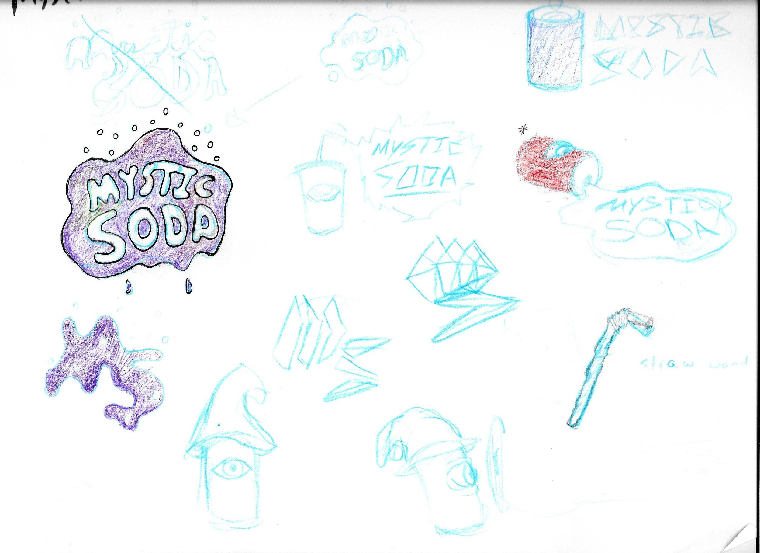 Sketch work for Mystic Soda's logo