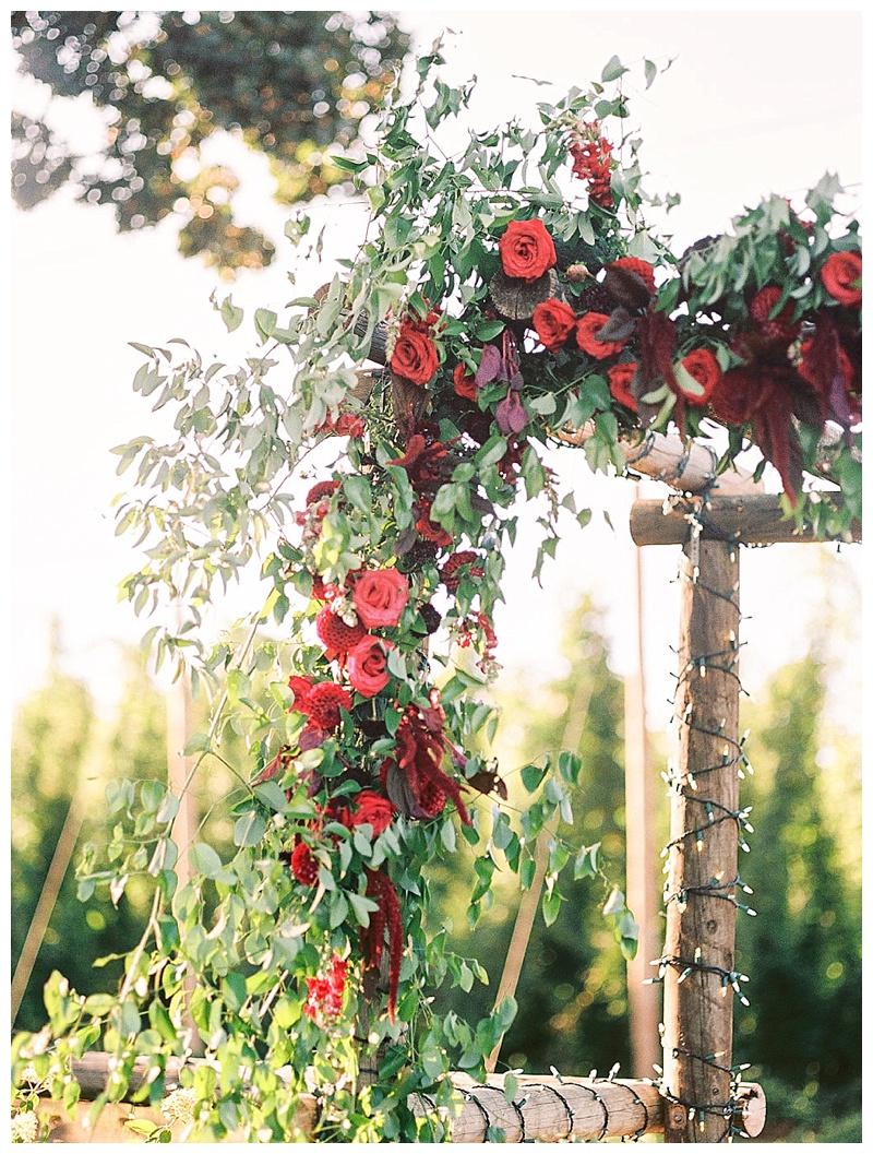 Oregon Wedding Floral Arch Detail