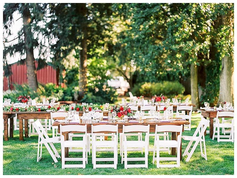 Oregon Wedding Florist Wilmes Farm Reception Tables
