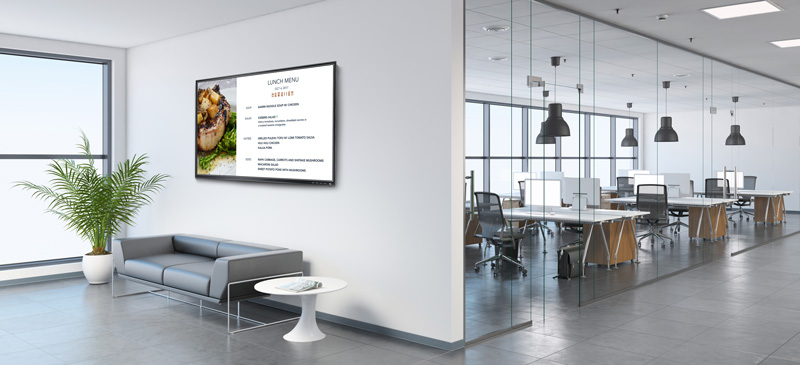 Digital Signage - Zoom Rooms digital signage for the workplace is a single tool for the modern office that addresses corporate communication, engagement, internal marketing and more to your employees and visitors.