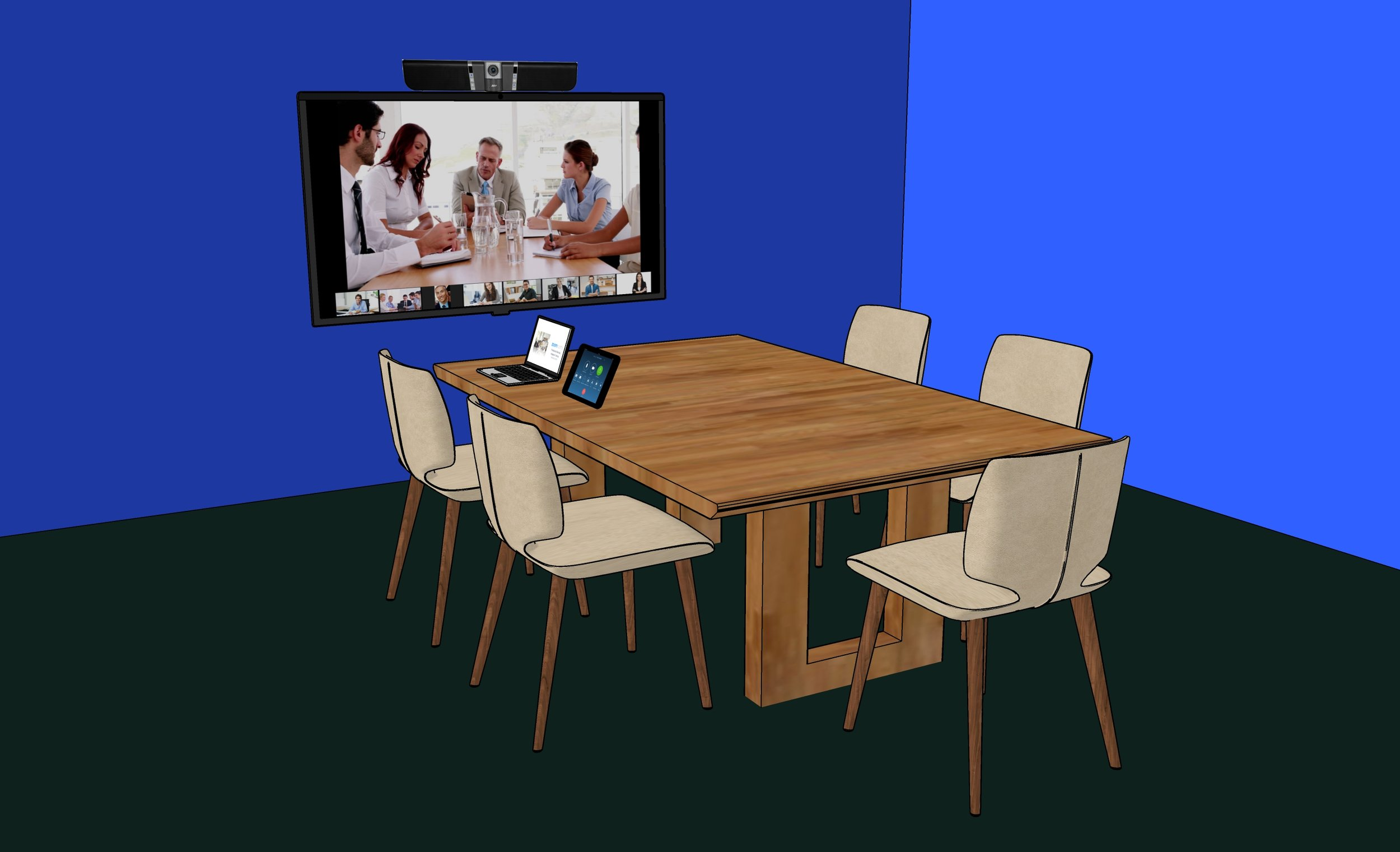 Huddle Room - Room Size: 2-7 peopleFor a huddle room sitting 2-7 people we recommend 1 TV display, an integrated camera, microphone and speaker device such as the Aver VB342, which connects to the Zoom Rooms computer. All equipment is wall-mounted behind the display allowing for easy access and installation.An iPad at the table is used as a room controller along with another optional iPad at the door as the room scheduling display.