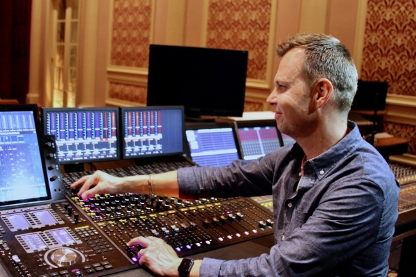 He is an Englishman. Julian Slater mans the faders on his Pro Tools during the production of  Baby Driver.