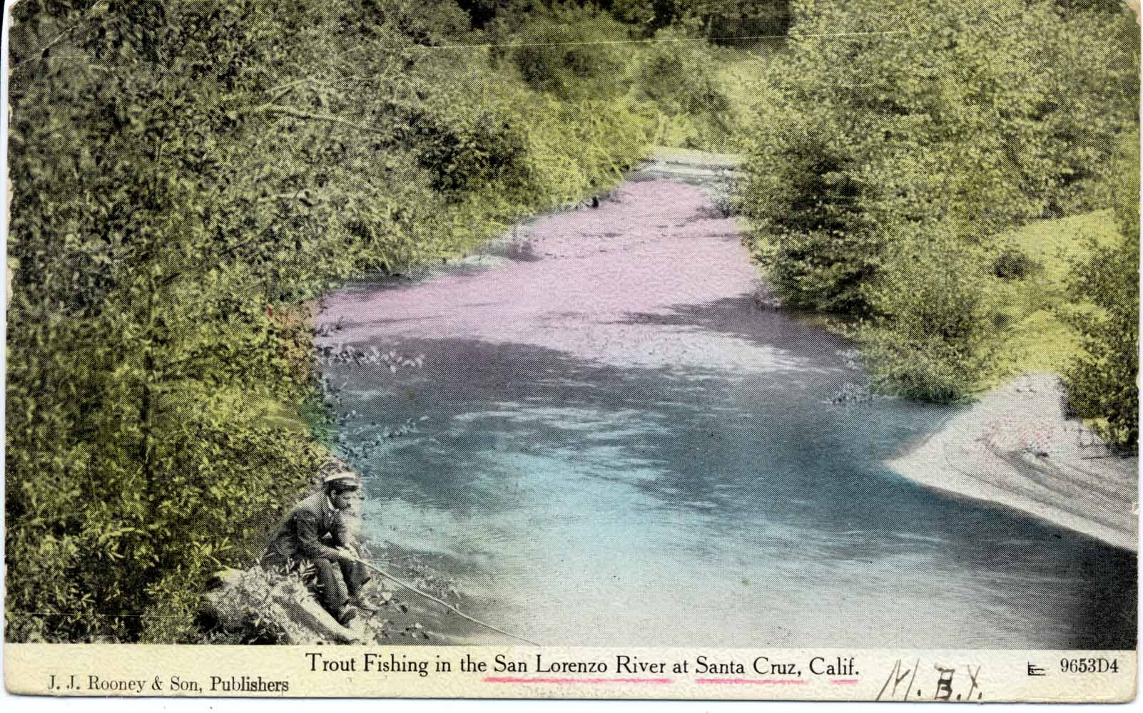A citizen escapes the pressures of 1915 Santa Cruz with some quiet time on the San Lorenzo River. Photo courtesy The Santa Cruz Museum of Art and History. Thanks to Marla Novo.