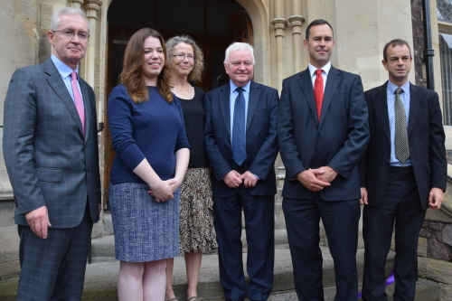 left to right: Professor Hugh Brady, Vice-Chancellor; Megan and Nuala Smith, daughter and wife of the late Professor David Smith; Emeritus Professor Joe McGeehan; Professor Tom Scott, co-director of the South West Nuclear Hub and Professor David Knowles, co-director (engineering) of the South West Nuclear Hub.   Image credit:   Richard Cottle