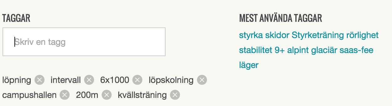 Så här kan taggning se ut i Peppster. Dina mest använda taggar visas ute till höger, de är klickbara för att enkelt lägga till dem. Medan du skriver en tagg föreslår Peppster bland de du använt tidigare.