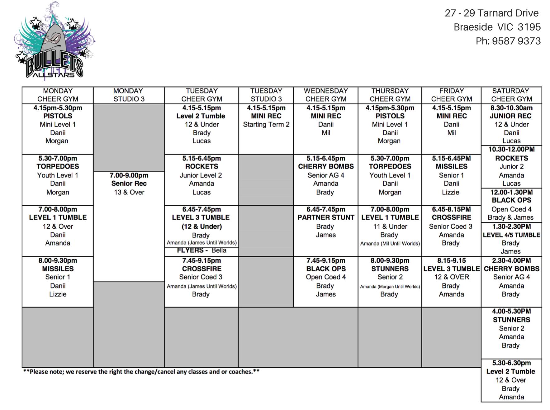 Bullets Allstars Cheerleading 2016 timetable