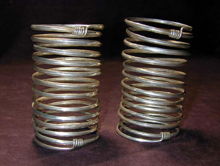 Pair of Akha, Lahu, Lisu or Wa/Lawa silver bracelets, Burma or Siam, turn-of-the-century.