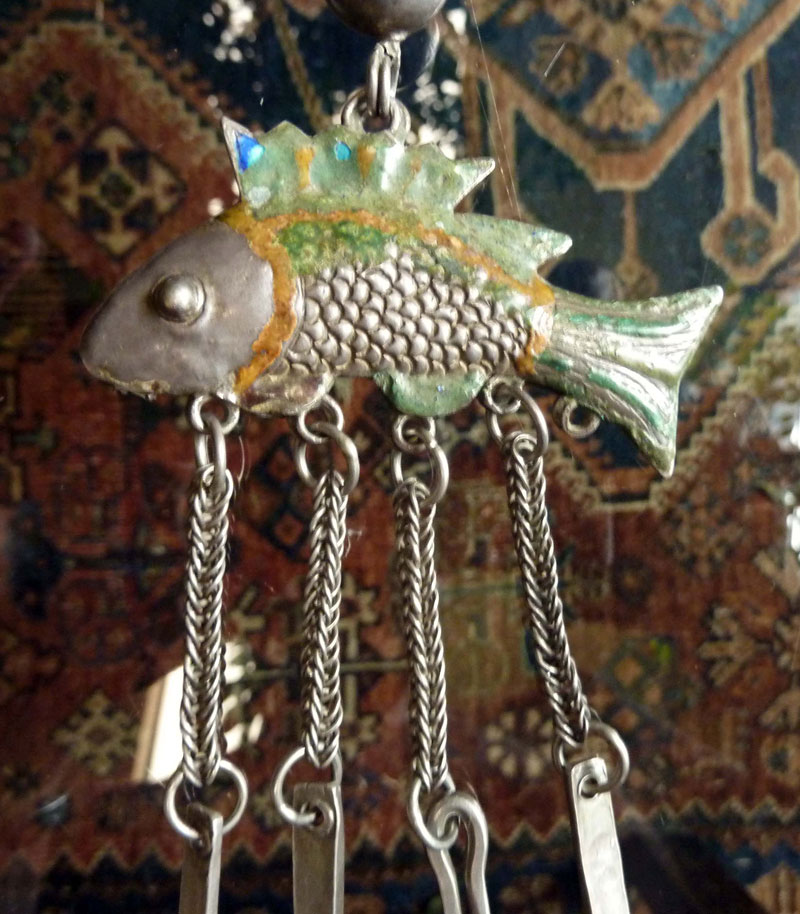 Enameled silver fish pendant, Yao or Hmong, South China or northern Siam, 19th century.
