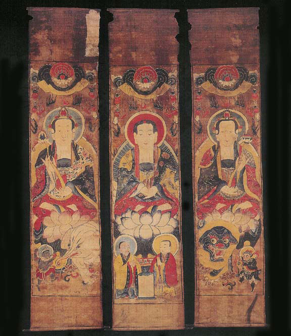 Set of three paintings, China, early 19th century.