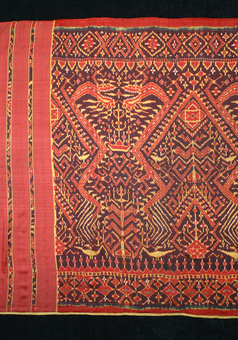 Silk ikat ship cloth, Cambodia, 19th century, detail.