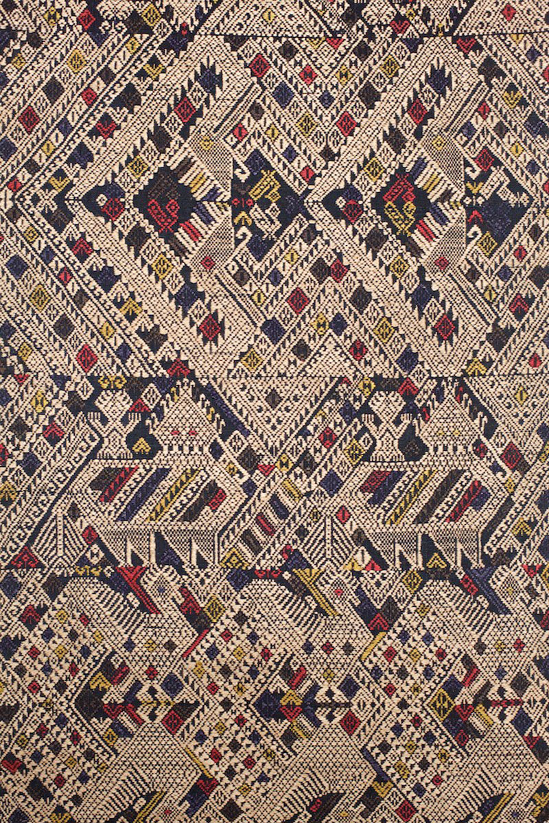 Tai cotton and silk shaman's shoulder cloth, northern Laos, late 19th century, detail.