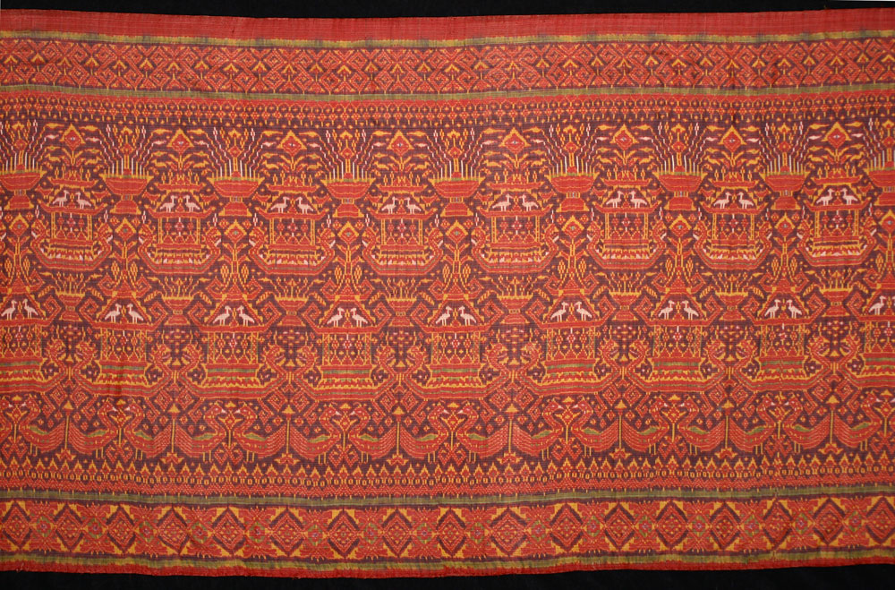 Silk ikat ceremonial ships cloth, Cambodia, circa 1900.