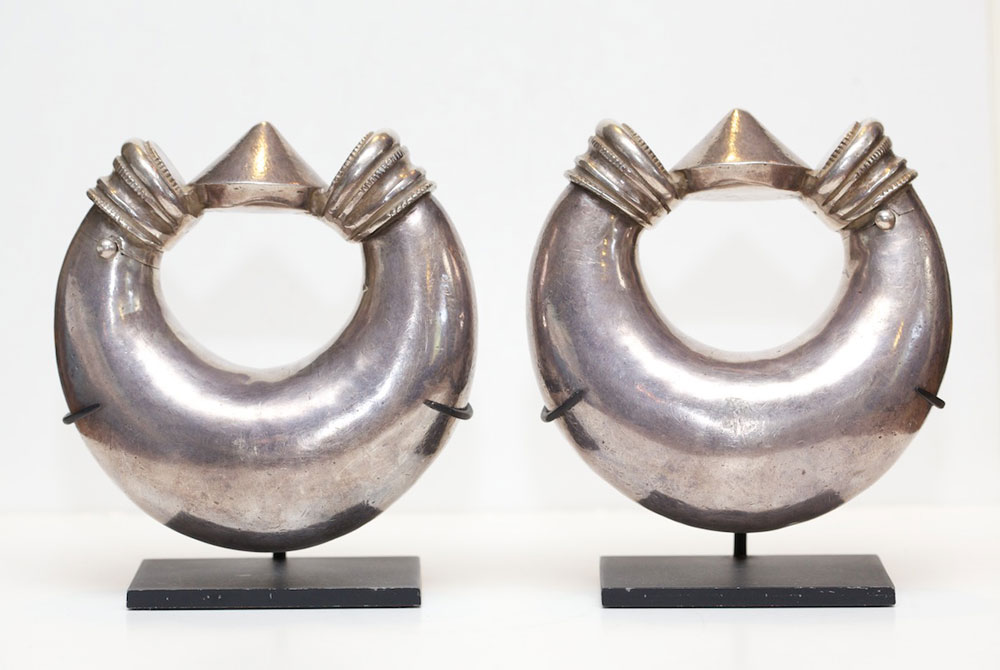 Silver anklet pair, India, turn-of-the-century.